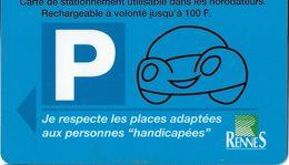 CARTE DE STATIONNEMENT  BANDE MAGNÉTIQUE VILLE DE RENNES 35 ILLE ET VILAINE - Francia