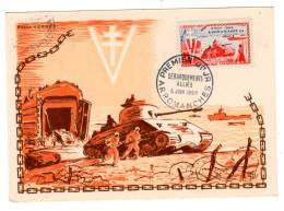 CARTE MAXIMUM - 1954 - Débarquement Alliés - Arromanches - Maximumkarten