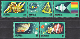 BAU0030 Mongolia MNH 1977 5v Space Planets Astronauts - Stamps