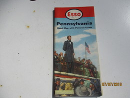 Carte Routiére/ESSO Standard Oil Co /PENNSYLVANIA/Road Map With Pictorial Guide/General Drafting New York/1952    PGC234 - Cartes Routières