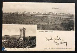 Porto Recanati Castello Palazzo Municipale E Panorama VIAGGIATA 1902  COD.C.1994 - Italia
