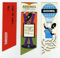Lot De 3 Marque-page Pub Pour Méthodes De Langue ASSIMIL (2 Français, 1 Néerlandais) - Découpes Spéciales (2 Images) - Marque-Pages