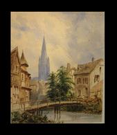 [CALVADOS Aquarelle Fin XIXème] - Les Rives De L'Odon à Caen. - Watercolours