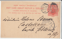 QV UPU Postal Stationery Postcard Travelled 1897 Stockwell To Castellaun B180715 - Stamped Stationery, Airletters & Aerogrammes