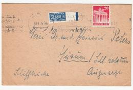 Berlin Notopfer Ungz. Randstuck Imperforated Stamp On Letter Travelled 1949 B180715 - Bizone