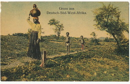 Gruss Aus Deutsch Sud West Afrika Color Woman Carryng Potery On Head And Nude Kids Edit Friedrich Lange - Namibie