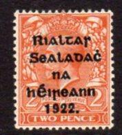 Ireland 1922 'Rialtas' Overprint On 2d Orange Die I GV Definitive, 2nd Thom Printing, Hinged Mint, SG 33 - Nuovi