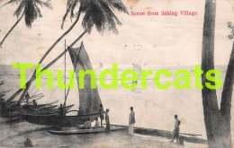 CPA SRI LANKA CEYLON SCENE FROM FISHING VILLAGE - Sri Lanka (Ceylon)