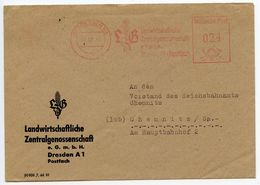 Germany 1947 Meter Cover Dresden - Landwirtschaftliche Zentralgenossenschaftt - Amerikaanse, Britse-en Russische Zone