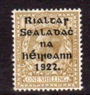 Ireland 1922 'Rialtas' Shiny Blue-black Overprint On 1/- Bistre GV Definitive, 3rd Thom Printing, Hinged Mint, SG 51 - Nuovi