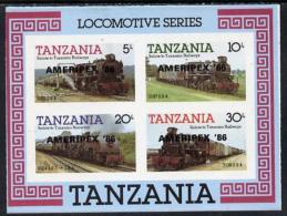 8834 Tanzania 1986 Railways Imperf M/sheet (as SG MS 434) O/p 'AMERIPEX '86' In Black (postal Stamp Exhibitions Trains) - Tanzania (1964-...)