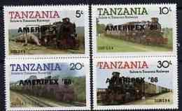 21205 Tanzania 1986 Railways Perf Set Of 4 O/p 'AMERIPEX '86' In Black (postal Trains Stamp Exhibitions) - Tanzania (1964-...)