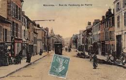 08 - Mézières - Rue Du Faubourg De Pierre Animée - Carte Toilée Et Colorisée - France