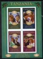 961 Tanzania 1986 Royal Wedding (Andrew + Fergie) The Unissued Imperf Shtlt 10s, 20s, 60s & 80s Vals (royalty) - Tansania (1964-...)