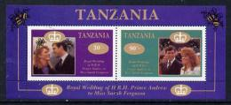 3897 Tanzania 1986 Royal Wedding (Andrew + Fergie) The Unissued Perf M/s Containing 30s & 90s Values U/m (royalty) - Tansania (1964-...)