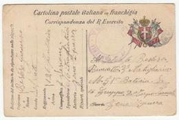 WWI Posta Militare, Corrispondenza Del R. Esercito - 126° Reggimento Fanteria Censored Travelled B180715 - 1900-44 Victor Emmanuel III
