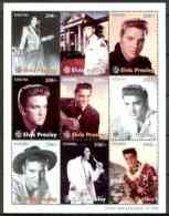 26330 Tanzania 1996 Elvis Presley Perf Sheetlet 9 Values U/m (films Entertainments Music Guitar) - Tanzania (1964-...)