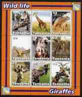 45910 Tanzania 2003 Wild Life - Giraffes Perf Sheetlet Containing Set Of 9 Values U/m (animals) - Tanzania (1964-...)