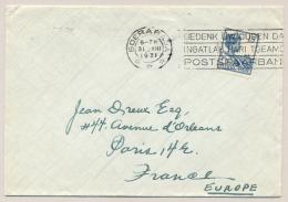Nederlands Indië - 1931 - 15 Cent Wilhelmina Met Machinestempel GEDENK UW OUDEN DAG... Van Soerabaja Naar Paris / France - Nederlands-Indië