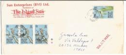 British Virgin Island BVI Birds Issue USCy 1985 C2x3+c20 On Open AirmailCV Tortola 25jun1986 X Italy - British Virgin Islands