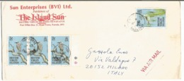 British Virgin Island BVI Birds Issue USCy 1985 C2x3+c20 On Open AirmailCV Tortola 25jun1986 X Italy - Hummingbirds