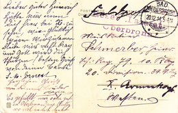 Feldpostkarte Avec Cachet Reserve-Lazarett / Oberbronn + TàD BAD NIEDERBRONN Du 20.12.14 Adressée à X Armee - Marcophilie (Lettres)