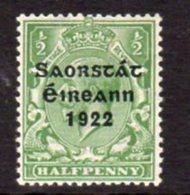 Ireland 1922 'Saorstat' Overprint On ½d Green GV Definitive, Thom Printing, Hinged Mint, SG 52 - 1922-37 Irischer Freistaat