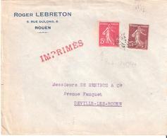 5c.+15c.semeuse Camée Sur IMPRIMES Avec Variété Sur Le 5c.(pied Absent Sous La Robe) - 1921-1960: Période Moderne