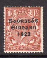 Ireland 1922 'Saorstat' Overprint On 1½d Red-brown GV Definitive, Thom Printing, Hinged Mint, SG 54 - 1922-37 Irischer Freistaat