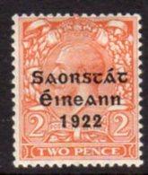 Ireland 1922 'Saorstat' Overprint On 2d Orange Die II GV Definitive, Thom Printing, Hinged Mint, SG 55 - 1922-37 Irischer Freistaat