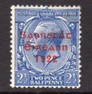 Ireland 1922 'Saorstat' Overprint On 2½d Blue GV Definitive, Thom Printing, Hinged Mint, SG 56, Fox Spot - 1922-37 Irischer Freistaat