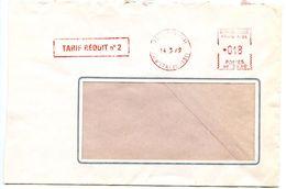 France 1969 Satas Meter Cover Paris - Tarif Réduit No 2 - Postmark Collection (Covers)