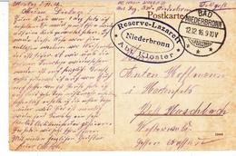 Feldpostkarte Avec Cachet Reserve-Lazarett / Niederbronn / Abt Kloster + TàD BAD NIEDERBRONN Du 12.12.16 Pour Hartenfels - Marcophilie (Lettres)