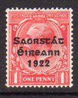 Ireland 1922-3 'Saorstat' Overprint On 1d Scarlet Coil Stamp, Harrison Printing, Hinged Mint, SG 68 - 1922-37 Irish Free State