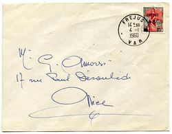 France 1960 Cover Frejus To Nice W/ Scott B336 Semi-Postal - France