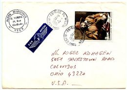 France 1981 Airmail Cover Nice To Columbus Ohio W/ Scott 1692 Art Painting, Peasant, By Louis Le Nain - France