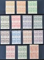 (*) 1913 Árvíz 2f-1K 14 Klf. Fogazatlan Próbanyomat Négyestömb Gumi és Vízjel Nélküli Papíron / Mi 129-142, 14 Imperfora - Stamps