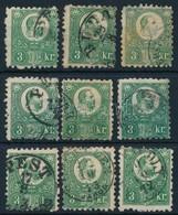O 1871 9 Db Vegyes Min?ség? Réznyomat 3kr Bélyeg (~50.000)b (mixed Quality) - Stamps