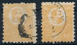 O 1871 2 Db Letér? Színárnyalatú 2kr (47.000) (egyik Rövid Fogakkal, A Másikon Enyhe Elvékonyodás) - Stamps