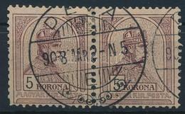 O 1904 5K Pár, Elvált Fogak, Bal Oldali Bélyegen Foghiba (30.000+) - Stamps