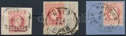 1867 3 Db Kivágás Kétnyelv? Bélyegzésekkel - Stamps