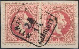 1867 5kr Pár ,,NYÍREG(YHÁZ)A AJÁNLOTT' - Stamps