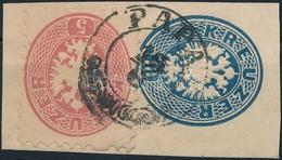 1864 5kr 10kr Díjjegyes Kivágáson ,,PÁPA' - Stamps