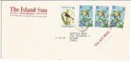 British Virgin Island BVI Birds Issue USCy 1985 C5x3+c20 + Audubon C5 On Open AirmailCV Tortola 5mar1986 X Italy - Hummingbirds