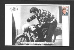 ARTISTES - CÉLÉBRITÉS - CHANTEUR ET MUSICIENS - 1963  JOHNNY HALLYDAY COURT À SA MOTO ET FILE VERS LA GARE - Chanteurs & Musiciens