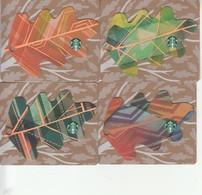"4 X Thailand Starbucks Card  ""Mini Leaves Set "" - 2016-6128 - Gift Cards"