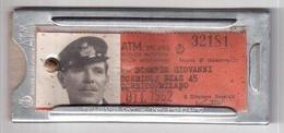 TESSERA RICOSCIMENTO ABBONAMENTO MILAN MILANO BUS TRAM 1962 CUSTODIA IN ALLUMINIO - Season Ticket