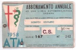 TESSERA RICOSCIMENTO ABBONAMENTO MILAN MILANO BUS TRAM 1958 - Europa