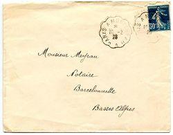 France 1926 RPO Cover Paris A Montereau To Barcelonnette - Postmark Collection (Covers)
