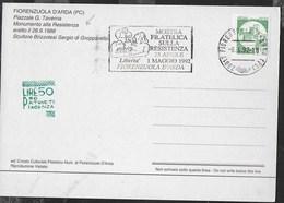 """ANNULLO A TARGHETTA """" MOSTRA FILATELICA RESISTENZA..."""" UFF. FIRENZUOLA D'ARDA SU CARTOLINA 06.04.19 MONUMENTO RESISTENZA - 6. 1946-.. Repubblica"""